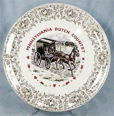 Pennsylvania Dutch Country Souvenir Plate Amish Horse & Buggy 1950s Vintage