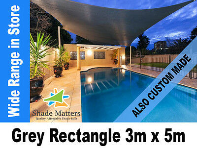 New Extra Heavy Duty Shade Sail-  Rectangle 3m x 5m Grey Color Also Custom Made