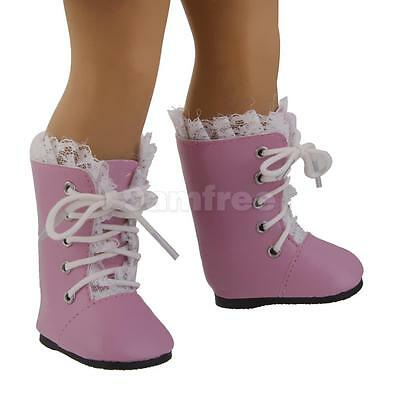 """Pink & White Lace Trim Boots Shoes for American Girl Our Generation 18"""" Doll"""