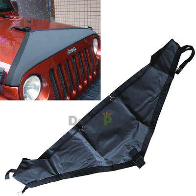 Black T-Style Hood Cover Front End Bra Protector Kit Fit 2007-2015 Jeep Wrangler