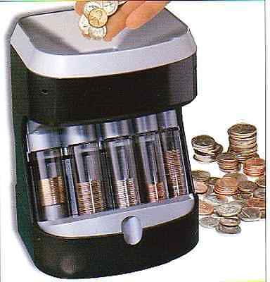 Coin Sorter Counter Automatic Machine Tube Stack Count Wrapper Bank Business