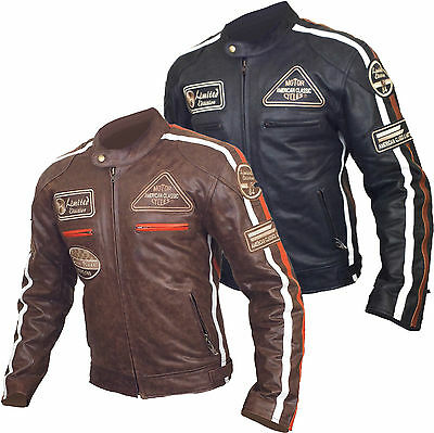 Leather Vintage Retro Style Motorcycle Motorbike CE Armoured Protection Jacket