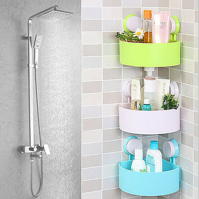 Plastic Bathroom Corner Storage Rack Organizer Shower Shelf Suction Cup FE