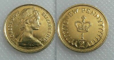Collectable 1979 Queen Elizabeth II Gold Guilded Half New Penny Coin
