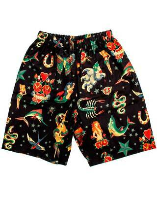 Tattoo Art Shorts Rockabilly Boys Kids Cool Different Punk Shark Skull Snake