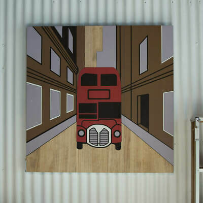 Double Decker Bus Wall Art 3 Panel 120x40cm Wooden Timber Hand Carved Triptych
