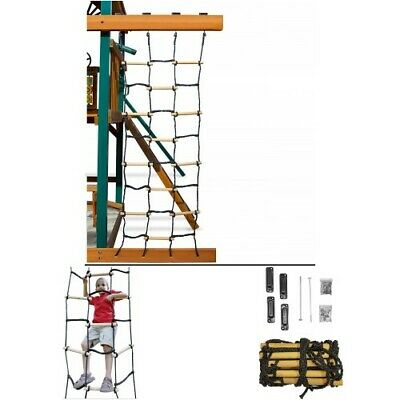 Cargo Net For Climbing Rope Wooden Dowels Kids Outdoor Fun Play Ladder Obstacle