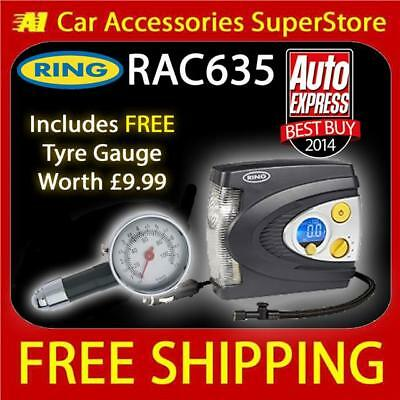 Ring Rac635 12v Car Tyre Inflator Pump Air Compressor Digital Automatic + Gauge