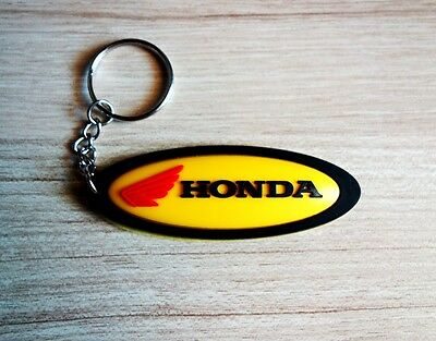 HONDA Keychain Yellow Rubber Key ring Motorcycle Bike Car Collectible Gift New