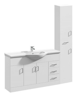 1550mm High Gloss White Bathroom Vanity Basin Sink Cabinet & Tallboy Furniture