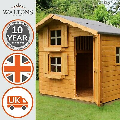 7x5 Childrens Wooden Snowdrop Playhouse - T&G Outdoor Wendy House Multi Storey