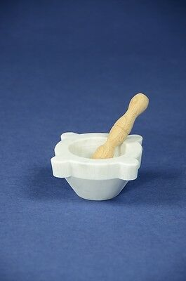 "Mortaio marmo Carrara ""Genovese"" 8 cm pestello legno.Marble mortar wood pestle"