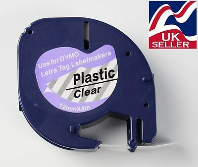 1-100 tape cartridge 12267 clear plastic 12mmx4m for DYMO LETRATAG label makers