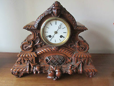 Oak Master Carved Striking Mantel Clock c.1880