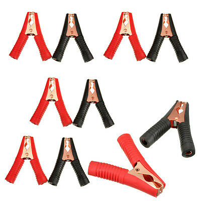 10 x Metal Car Battery Clip Crocodile Alligator Test Terminal Clamp 100A Red BLK
