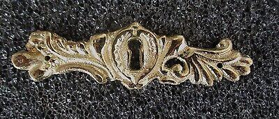"ORNATE SOLID BRASS FRENCH STYLE ESCUTCHEON KEYHOLE COVER 4 1/4"" wide"