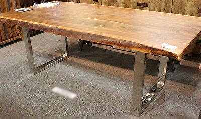 """84"""" L dining table acacia solid wood plank slab steel legs beautiful hand made"""