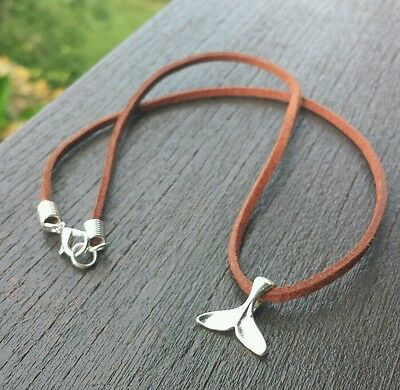 Silver Whale Tail Leather Necklace Gypsy Surfer Festival Ocean Sea Dolphin