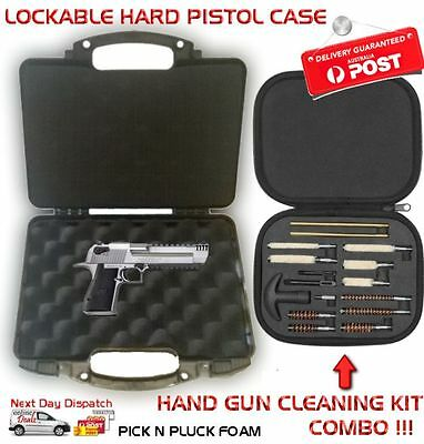 Hard Plastic Handgun Gun Carry Case Lockable Storage + Pistol Cleaning Kit Combo