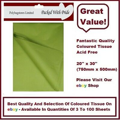 LIGHT GREEN - LUXURY QUALITY COLOURED TISSUE PAPER ACID FREE - 750mm x 500mm