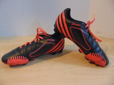 Soccer Shoes Cleats Childrens  Size 4.5 Adidas Predator Black Red Minor Wear