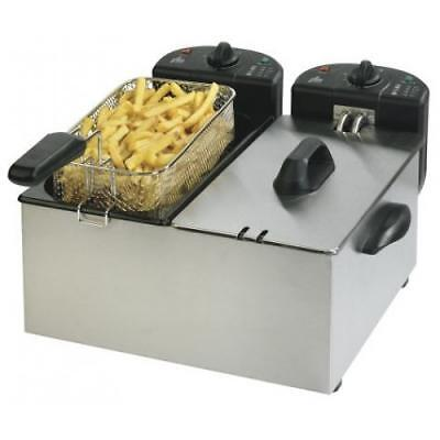 Team F27M Double Deep Fat Fryer 2x 3L Capacity Stainless Steel 2200w 1 Year Warr
