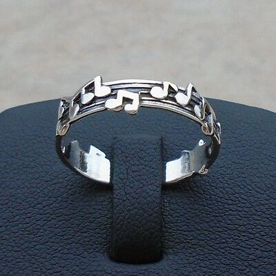 925 Sterling Silver Music Musical Notes Ring Size 8 Oxidized Solid Hall Unbr New