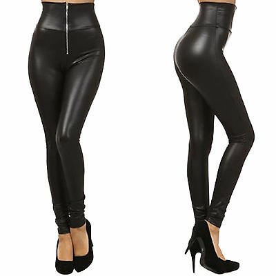 Lady Women High Waist Faux Leather Stretchy Skinny Leggings Slim Tight Pants