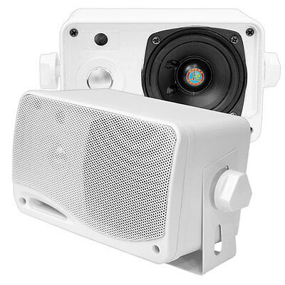 Pyle PLMR24 Marine 3.5'' 200w 3-Way Weather Proof Pair Mini Box Speaker (White)