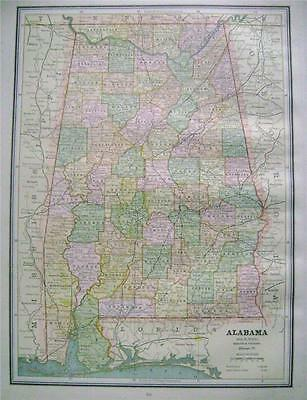 1887 Alabama Original Color Map** Florida on back