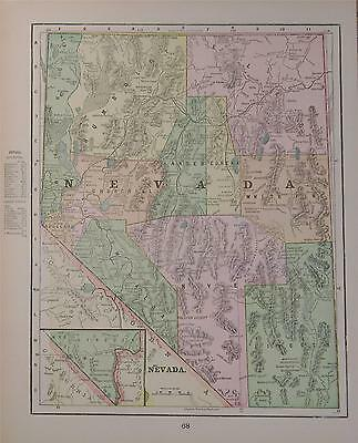 1899 Nevada Antique Color Atlas Map** Indexed w/ Population.. 120 years-old!