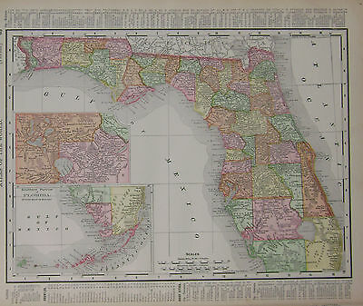 1898 Florida Dated Color Atlas Map*  Alabama color map is on back  ... Indexed