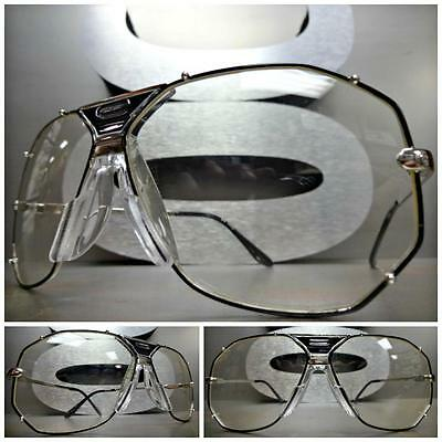 CLASSIC VINTAGE RETRO Style Clear Lens EYE GLASSES Large Silver & Black Frame