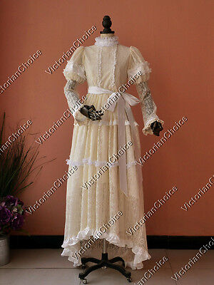Edwardian Victorian Ivory Vintage Lace Overlay Wedding Gown Bridal Dress 353