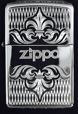 Zippo Windproof Chrome Lighter With Regal Design & Zippo Logo, 51154, New In Box