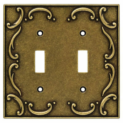 BRAINERD Burnished Antique Brass Scroll Double Light Switch WallPlate Cover