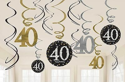 12 x 40TH BIRTHDAY HANGING PARTY SWIRLS BLACK SILVER GOLD DECORATIONS AGE 40