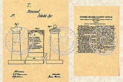 US Patent - TOMBSTONE HEADSTONE Grave Funeral #337