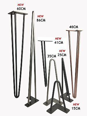 "Hairpin Table Legs (PRICE PER LEG) Size  4""-34"" Choice of Style, Height & Colour"