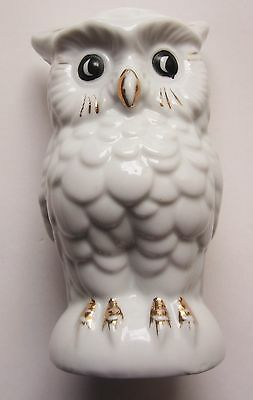 Early Hand Painted Break-to-Open OWL Bank Japan Ceramic White & Gold