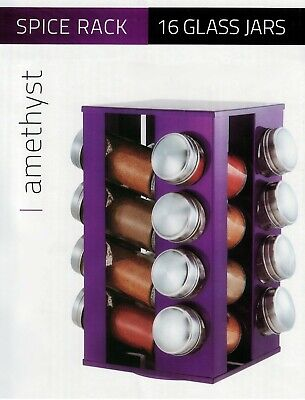 16Pc Revolving Spice Rack Storage Stand Spices Herbs With Holder Storage Purple