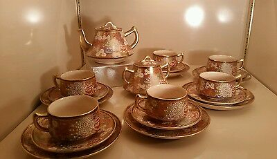MARKED Souzan JAPANESE TAISHO SATSUMA THOUSAND FLOWER TEA SET CUP & SAUCER PLATE