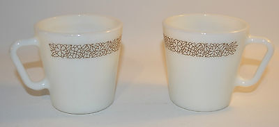 2 Pyrex Corning Corelle Milk Glass Woodland Brown Coffee Tea Cup #1410