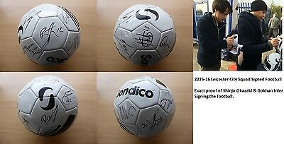 2015-16 Leicester City Squad Signed Football - Exact Proof (7678)