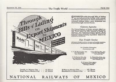 1929 National Railways of Mexico Ad: Through Bills of Lading on Export Shipments