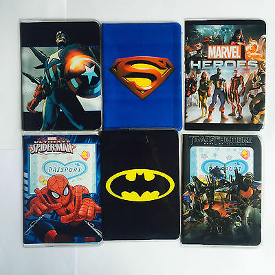 SUPER HEROES Childrens Passport Cover Case Protector Holder Kids NEW DESIGNS