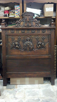 Pair of European Walnut Beds Catholic Historical Beds St Bernard Carvings RARE