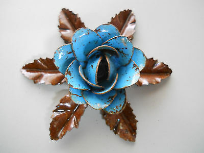 3 BLUE Handmade Metal ROSE Flower Shabby Rustic Vintage Antique Style CHIPPY
