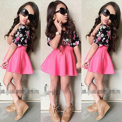 2pcs Casual Kids Girls Clothes Floral T-shirt Tops+Skirts Outfits Set Dress UK