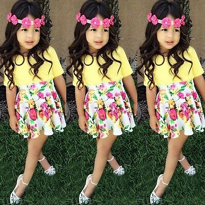 2pcs Suit Baby Girls Clothes T-shirt +Floral Skirts Outfits Set Summer Dress UK